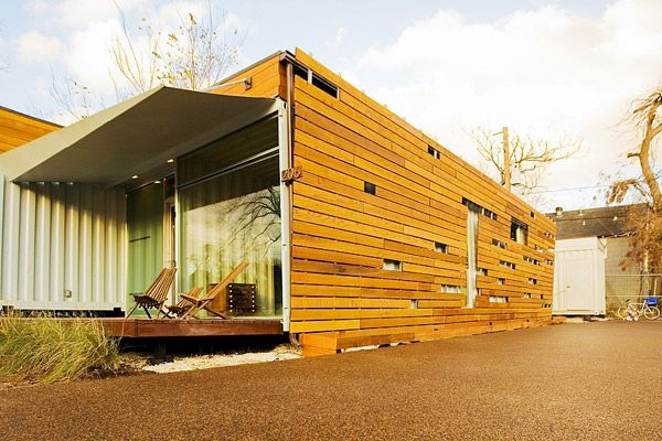 House made from shipping containers, Texas USA