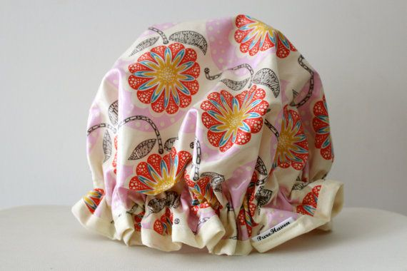 Handmade Laminated Cotton Shower Cap  PVC FREE. by PureHaven, $22.99