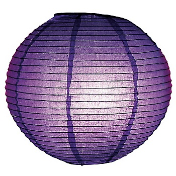 Purple lantern light! Decorate as you like and hang from ceiling. They have other colors, too. http://www.myonlineweddinghelp.com/search.php?keywords=round+lantern+light