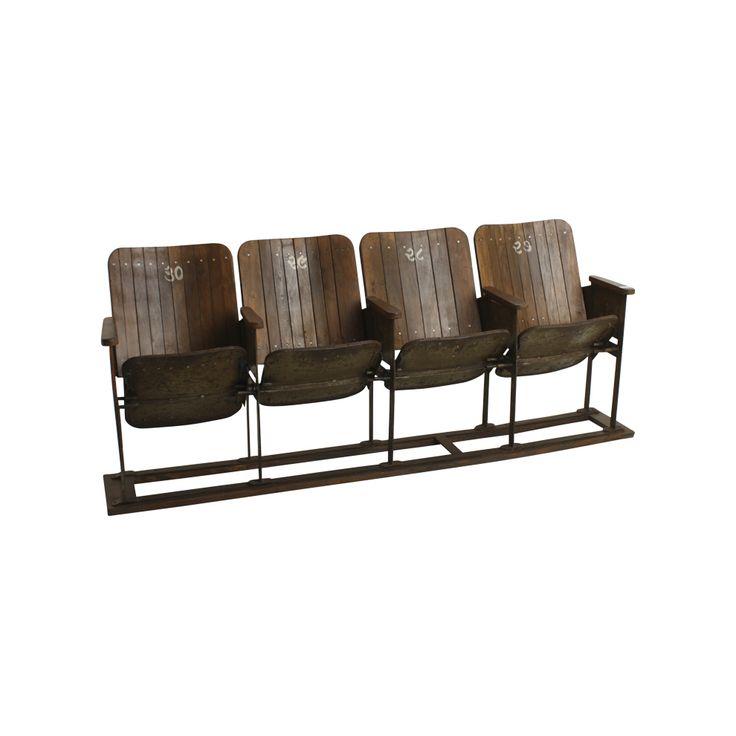 Original 4er-Kinosessel aus Holz / Original cinema seats from wood, 4 pcs. Schaffen Sie Kino-Feeling in Ihrer Lounge oder auf dem Balkon. Der originale 4er-Kinosessel macht sich gut als ausgefallene Sitzbank. Die Nummern in indischer Schrift sind von Hand aufgemalt (30, 29, 28, 27 von links nach rechts). AVAILABLE AT The Harrison Spirit, Morgartenstrasse 22, 8004 Zürich