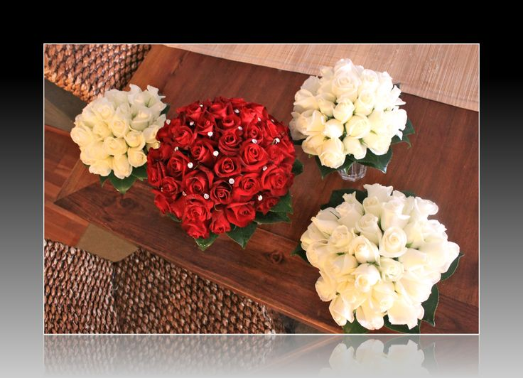 http://floralicious.wordpress.com/ Red Roses Bride with Diamantes White Roses Maids