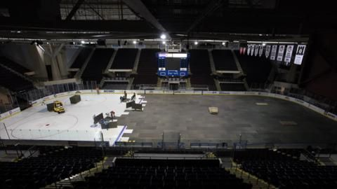 Getting ready for pro hockey's return to Portland: The crew at the Cross Insurance Arena prepares for the home opener of the Portland Pirates.