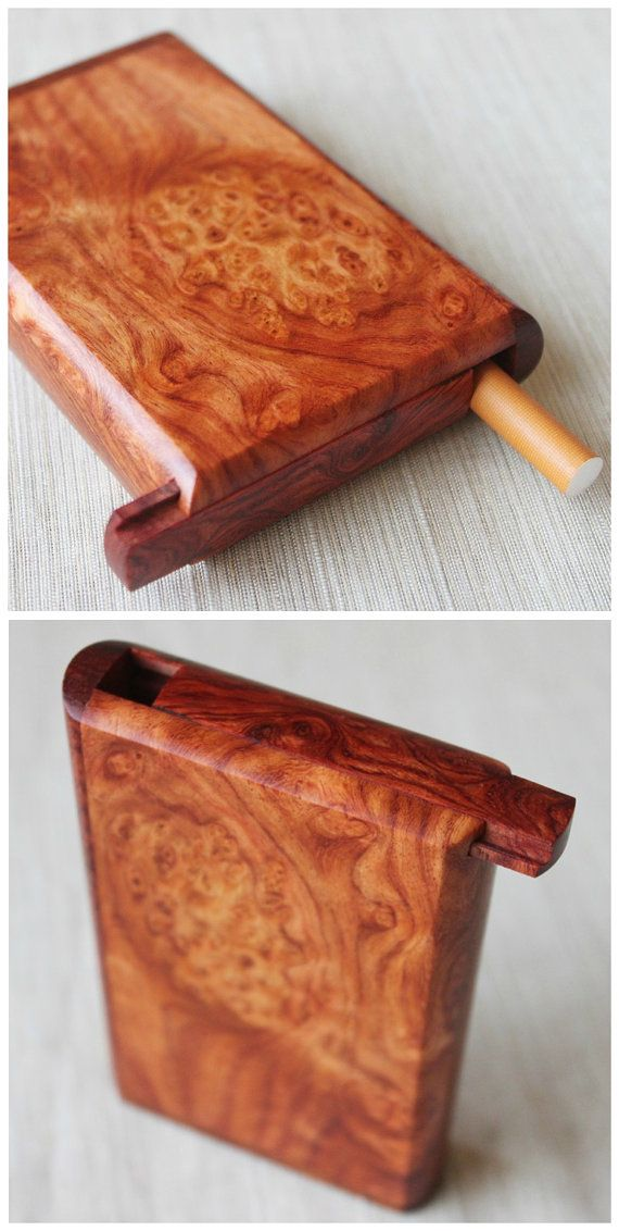 Figured Burl Rosewood Cigarette Box with Slide Cover Handcrafted Cigarette Case Walnut and maple Wooden Box Supply