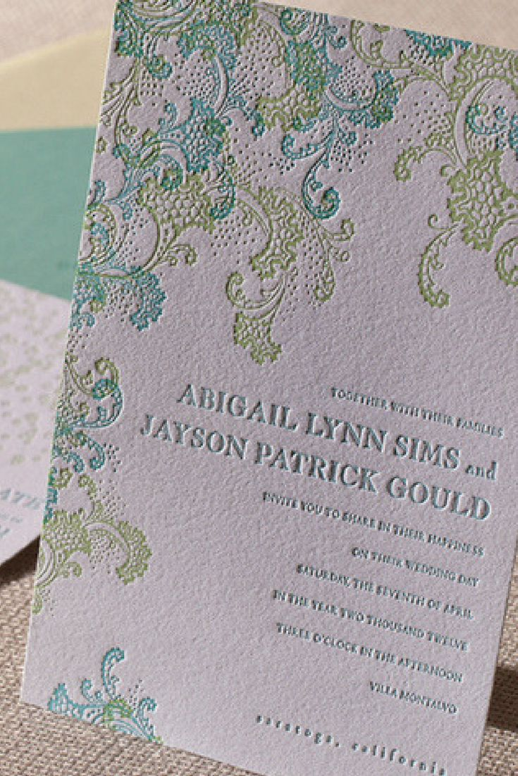 Whimsical and dreamy, the Sea Spray letterpress wedding invitation suite by @elumdesigns boasts colors and imagery inspired by the ocean.