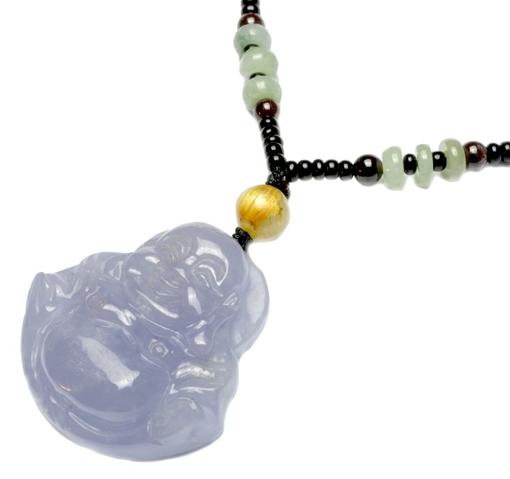 Happy Buddha Unique Carved Lavender Ice Jade Amulet Pendant Necklace - Fortune Buddhsit Jade Jewelry: