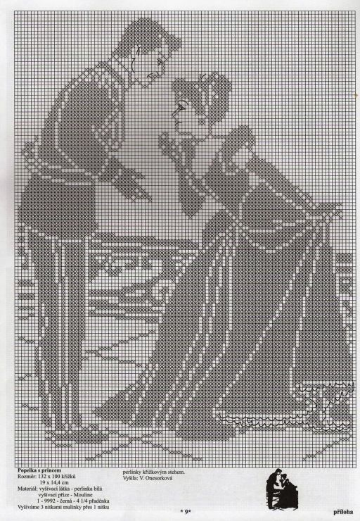 This would be good filet crochet project for little girls wall.  Point de croix *♥* Cross stitch