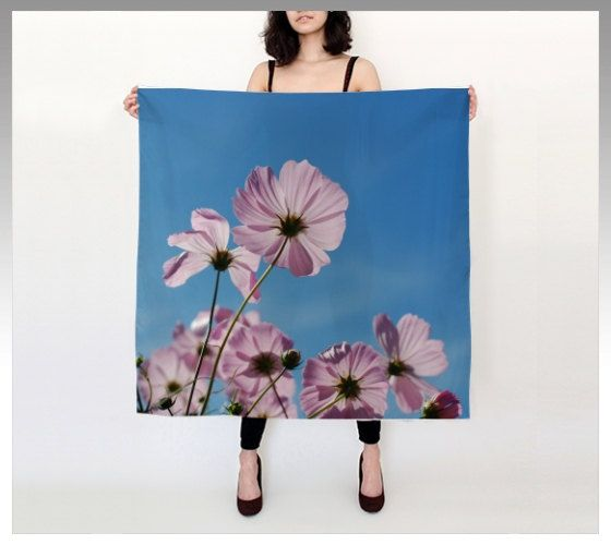 """Pink Anemone Flowers 36""""X 36"""" Large Square Silk Scarf by LOVEMIZU on Etsy"""