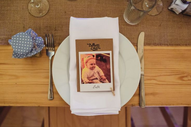 Polariod Place Name Setting Rustic Relaxed Blue Tipi Wedding http://www.lucylittle.co.uk/