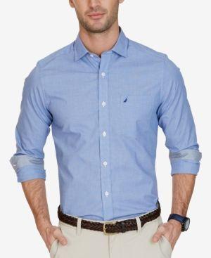 Nautica Men's Big & Tall Classic-Fit Non-Iron Houndstooth Shirt - Blue 3XLT