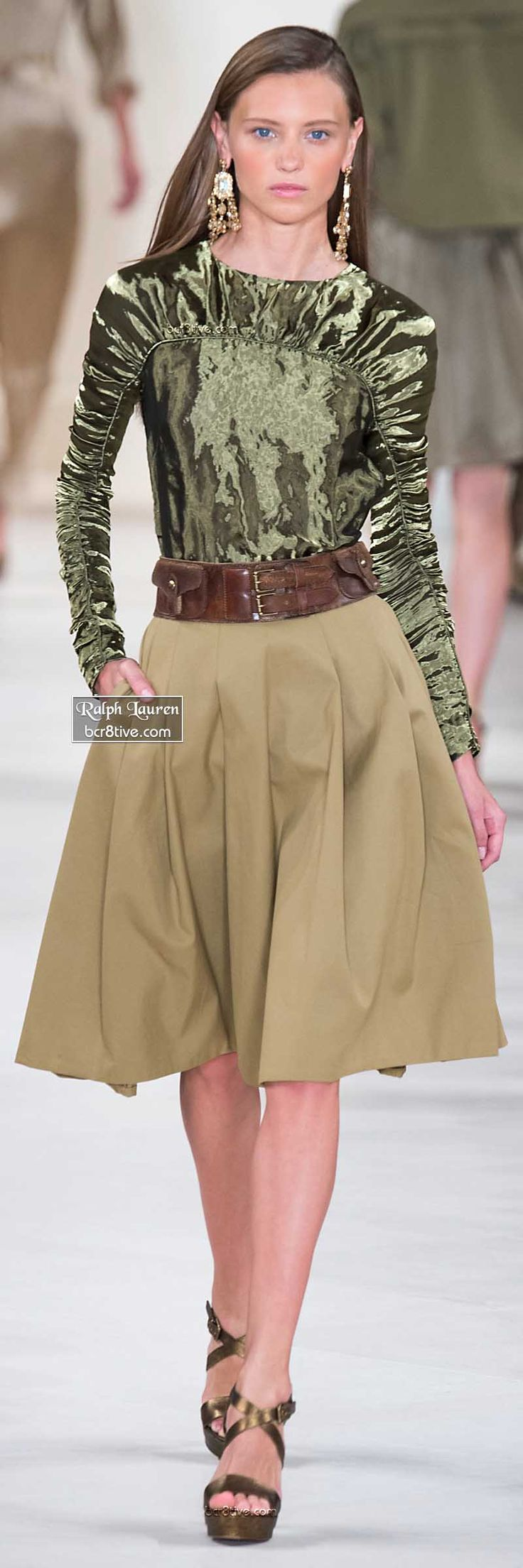 Ralph Lauren ~ Spring Green Metallic Blouse w Khaki Pleated Midi Skirt 2015