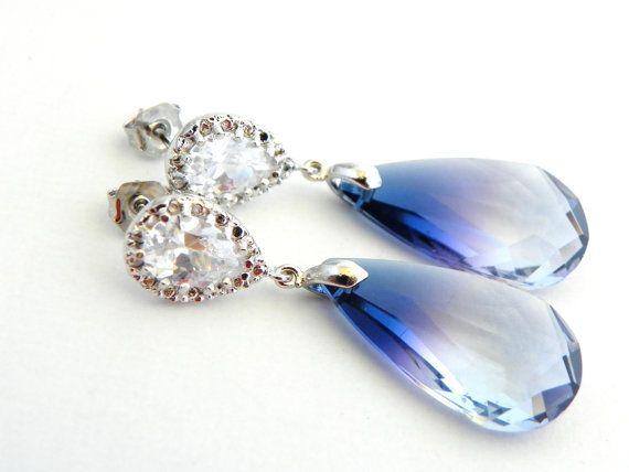 Ocean Blue Swarovski Earrings, Clear and Blue Earrings, Wauwie! <3