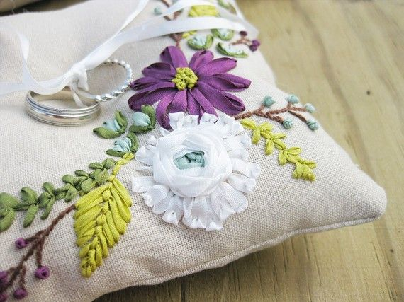 Ring pillow with ribbon embroidered flowers in by MichelleEdgemont, $95.00 ❤