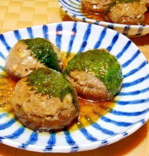 「椎茸の肉詰め☆ポン酢だれ」椎茸の肉詰めにポン酢をからめました。【楽天レシピ】