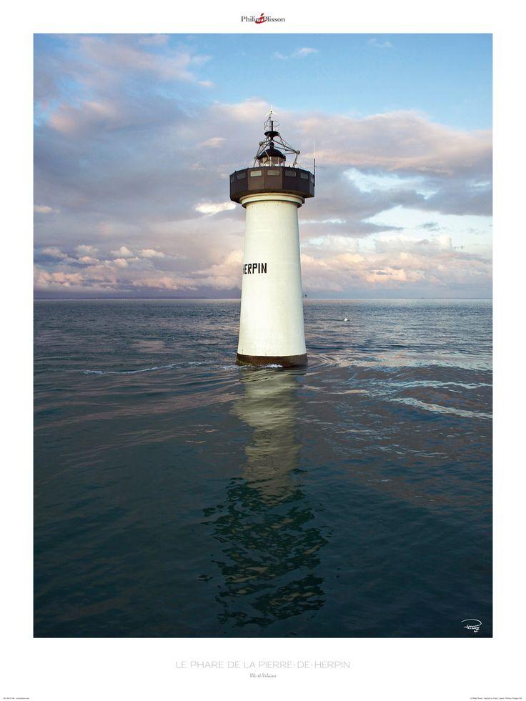 Poster photo Bretagne Le phare de la Pierre-de-Herpin - Ille et Vilaine - Philip Plisson