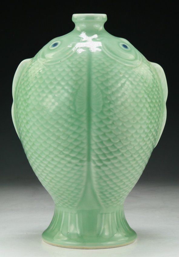 A Chinese Celadon Glazed Porcelain Fish Vase signed QIANLONG mark on the base; Size: H: 14""