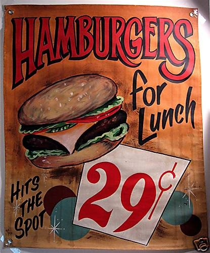 Hamburger Lunch Retro Canvas Diner Sign Banner