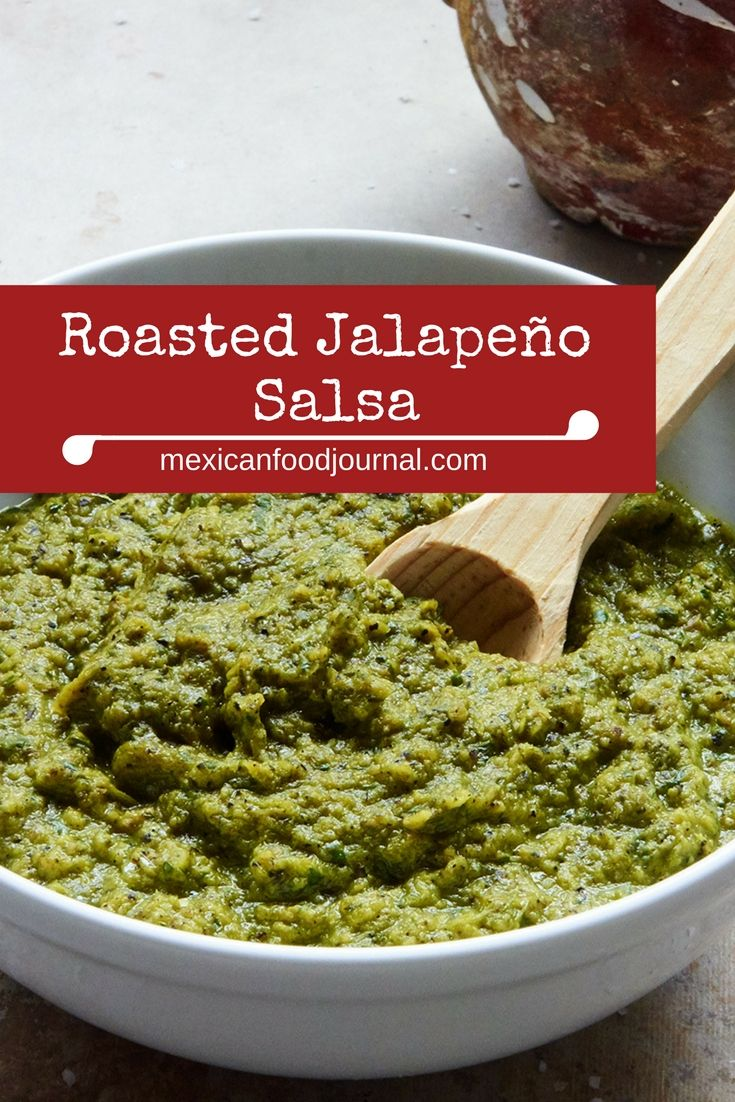 Intensely flavored pan roasted jalapeño salsa which packs some heat. The peppery flavor of the jalapeños is front and center and enhanced by onion, garlic, cilantro and lime juice.