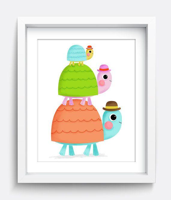 Family Art, Turtle, Kids Art, Digital Print, Printable Nursery Wall Art, Baby Nursery Decor, Playroom Wall Art, Instant Download Art, Art