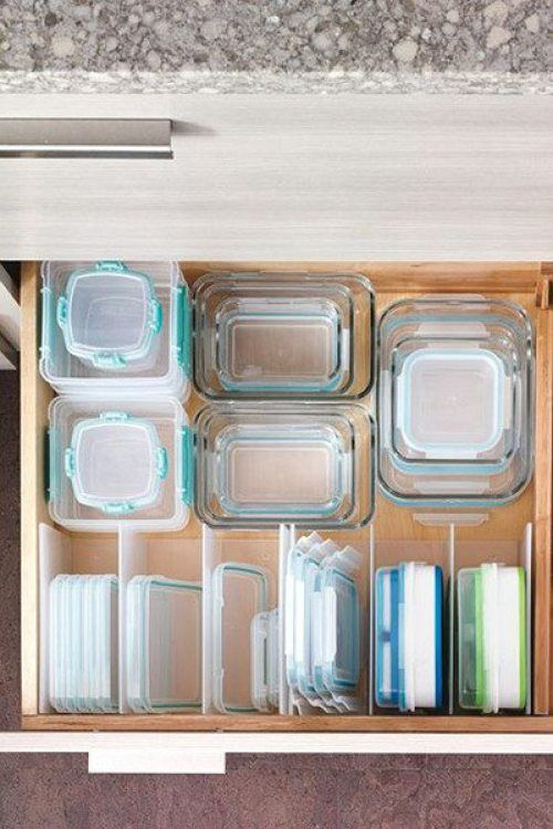 Use plastic dividers to organize lids and containers in your kitchen drawer.