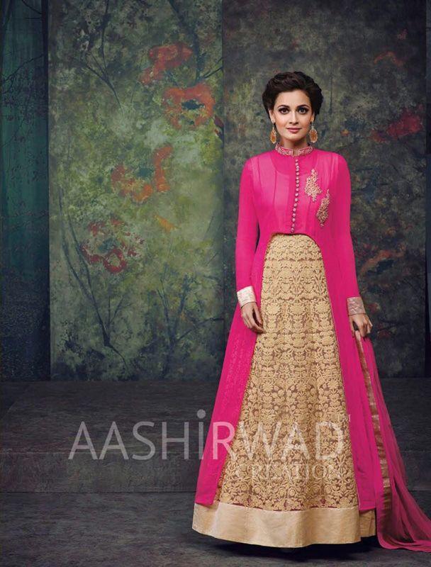 Diya Mirza Party Wear Pink Anarkali Suit