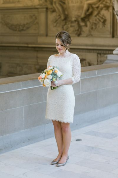 Short elopement dress: http://www.stylemepretty.com/california-weddings/san-francisco/2015/06/19/sweet-san-francisco-city-hall-elopement/ | Photography: Jasmine Lee - http://jasmineleephotography.com/