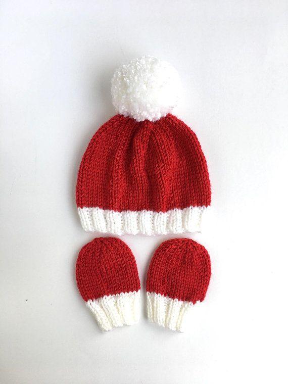 Baby Boys Girls Christmas Woolly Hat Mittens Bobble Winter Xmas 0-12 M NEW