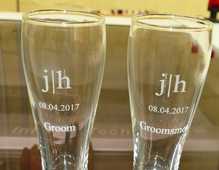 Beer glasses custom engraved. Choose from range of glasses, and optional wooden box sets for personalised gifts