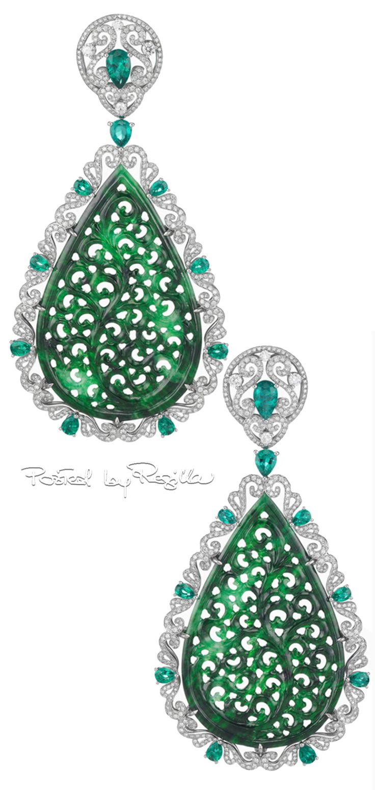 Regilla ⚜ Chopard, Earrings with carved jade, emeralds and diamonds
