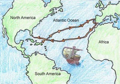 Map showing the route of Columbus' first voyage.