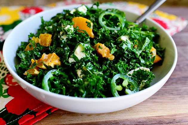 Kale citrus salad, I would leave out the peppers, have to come up with something else.