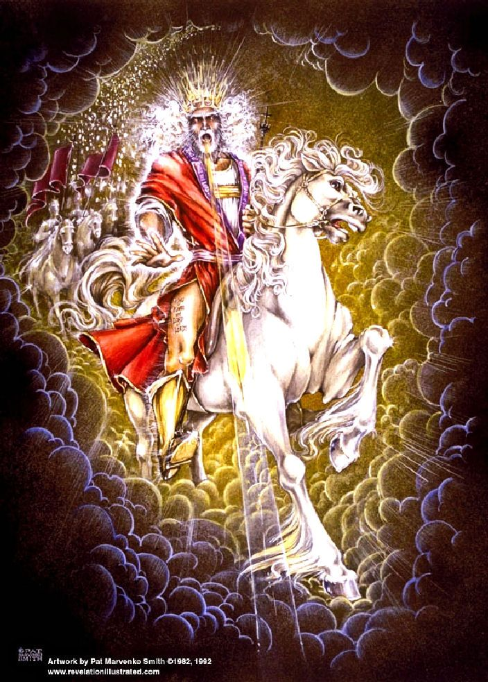 "The Second Coming. BIBLE SCRIPTURE: Revelation 19:12, ""His eyes were as a flame of fire, and on his head were many crowns; and he had a name written, that no man knew, but he himself."" - http://access-jesus.com/Revelation/Revelation_19.html"