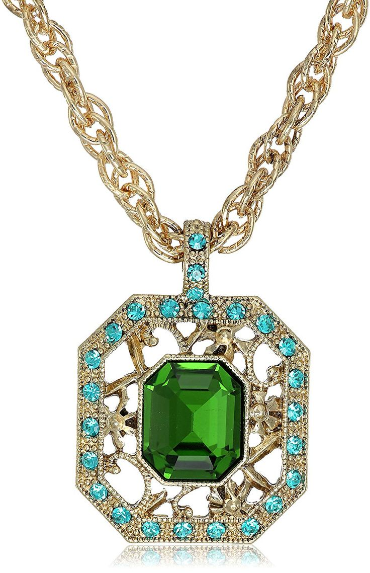 1928 Jewelry GoldTone Green ZirconColor Crystal Octagon