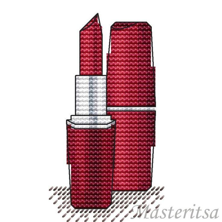 point de croix rouge à lèvres rouge - cross stitch red lipstick