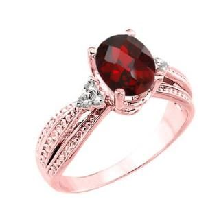 10k Rose Gold Diamond-Accented Band Oval Garnet Engagement ...