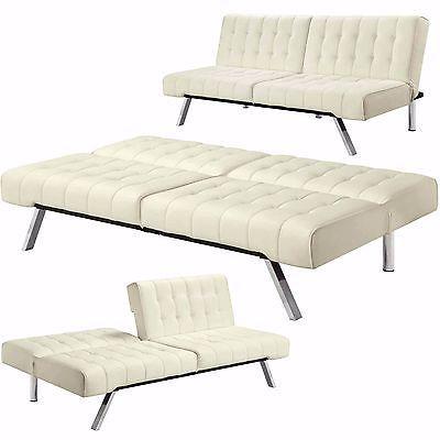 Convertible Futon Sofa Bed Sleeper Lounger Dorm Couch Full Size Mattress Vanilla