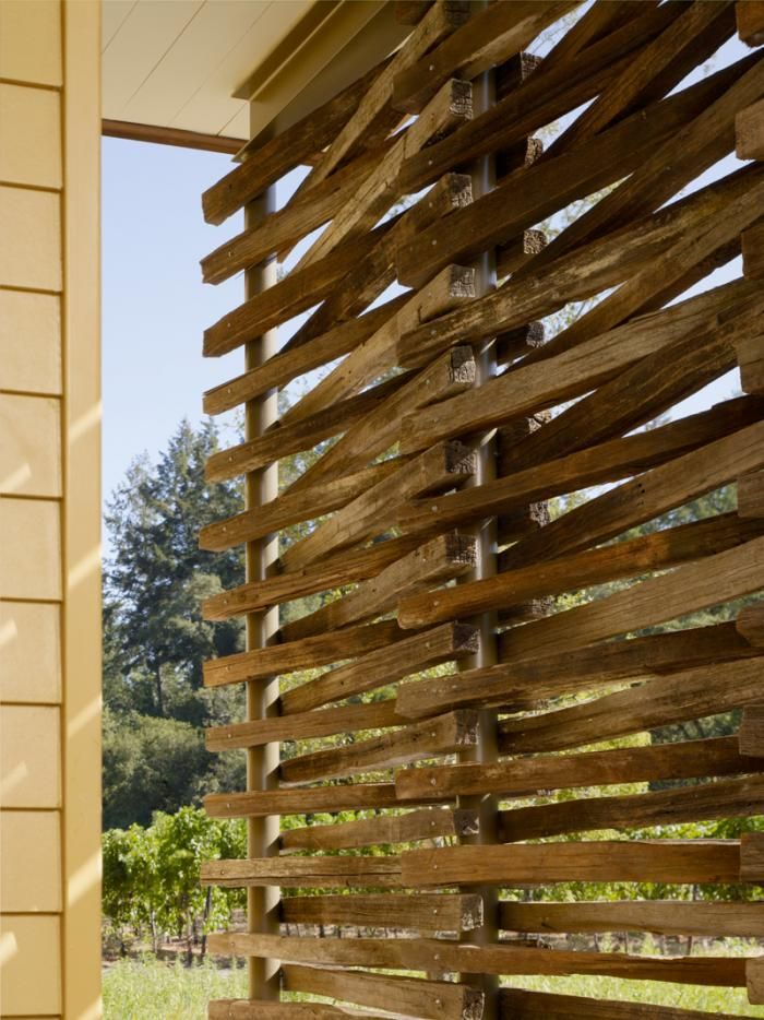 Sun screen made of grape stakes   The-Architect-is-In-Nick-Noyes-Architecture-Healdsburg-Plywood: Remodelista