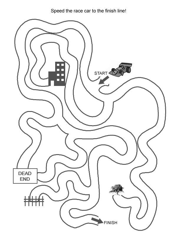 free online printable kids games race car maze