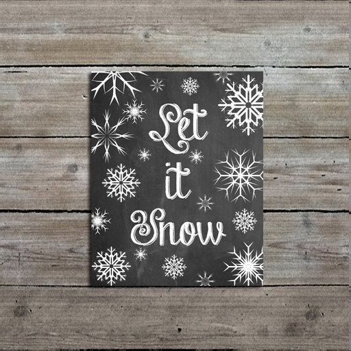 Let It Snow Print 8x10 Snowflake Art Print by Mallory Lynn Decor #winterart