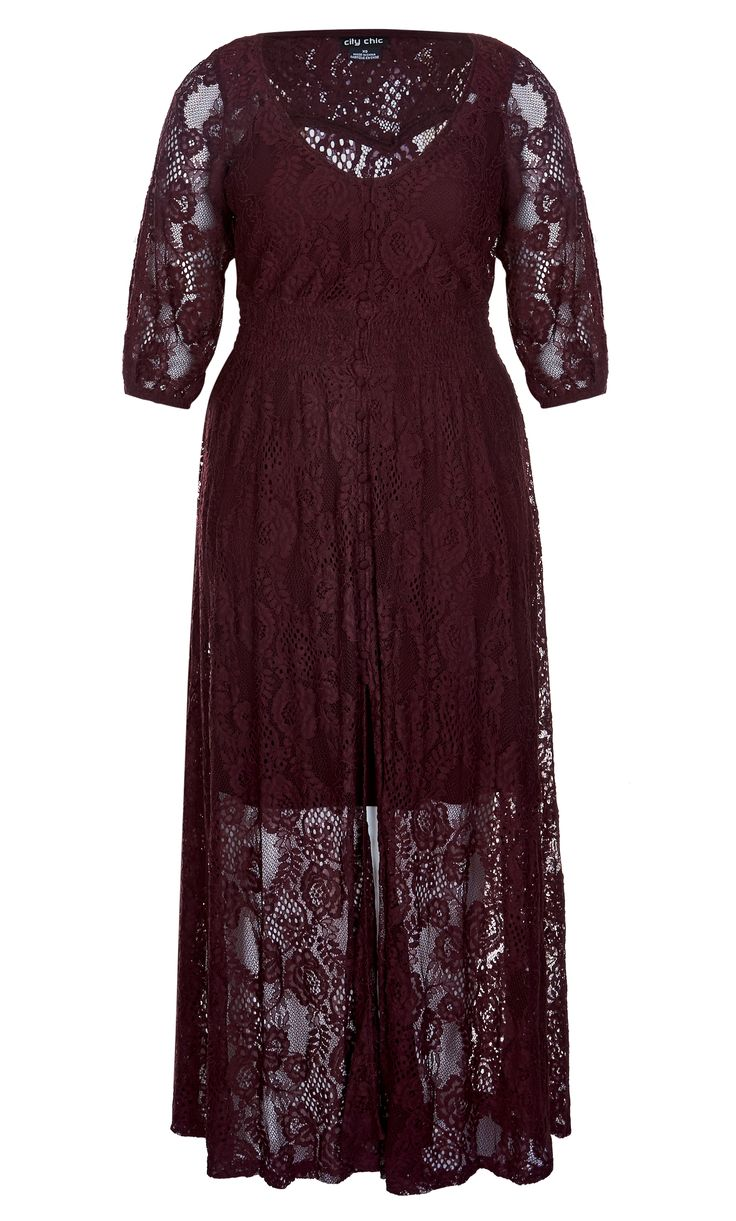 The delicate lace of this maxi dress certainly is a Divine Creation.    Key Features Include:  - V neckline with button down opening  - 3/4 length sleeves with elastic hem  - Shirred waistline for comfort and fit  - Maxi length skirt with front opening  - Delicate lace fabrication  - Separate slip included