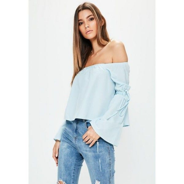 Missguided Petite Bardot Tie Cuff Cotton Blouse ($11) ❤ liked on Polyvore featuring tops, blouses, blue, sleeve top, cotton blouse, sleeve blouse, tie top and tie sleeve top