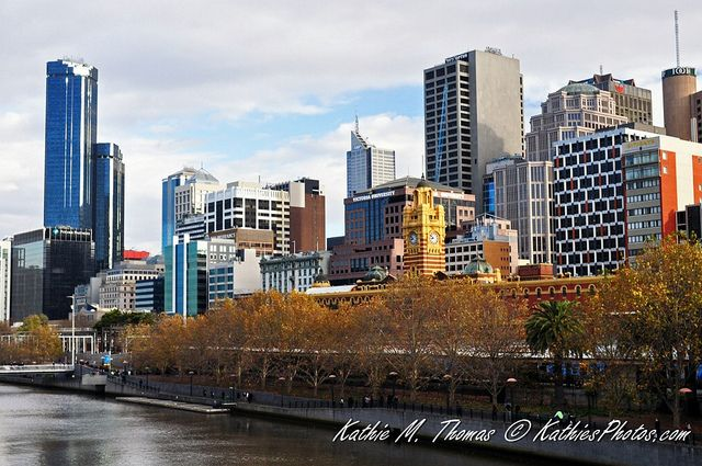 Flinders Station and other buildings by the Yarra River