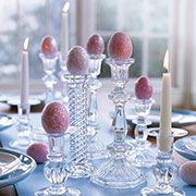 Elegant Easter Egg Decorations ~ Dyed eggs were covered with glitter-glue spray to create this striking arrangement.