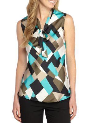 Kasper Women's Printed Neck Bow Tie Blouse - Opal Multi - Xl