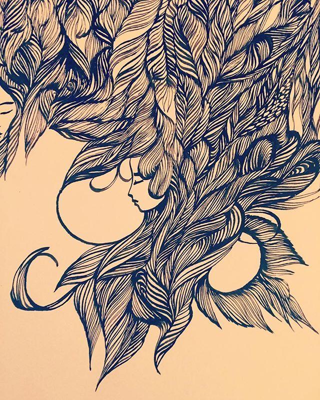 Ashya Lane-Spollen Detail from tonight. ✍ #ink #illustration #illustrator #art #draw #drawing #quill #women #woman #girl #hair #sleep #dream #surreal #blackandwhite #irish #french #france #ireland #wild #love #live #artlife #artblog #artblogger
