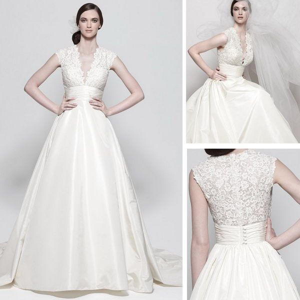 A-line embroidered v-neck bodice capped sleeve full skirt with pockets button on back chapel train wedding dressesSD7074B
