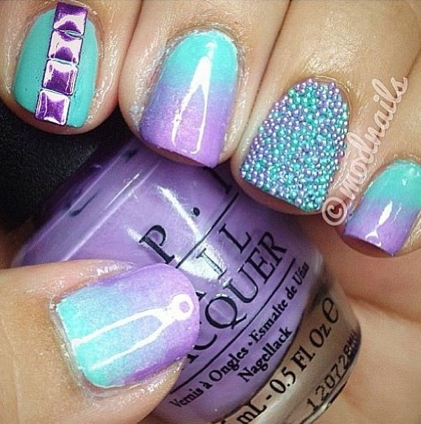 Purple turquoise nails