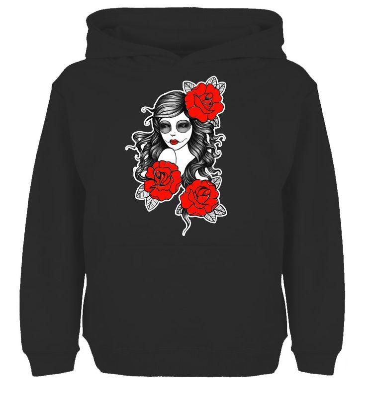 Punk sugar girl skull tattoo Red Rose Rebel Graphic Design High Quality Hoodie Men's Women's Winter 100% Cotton Sweatshirt