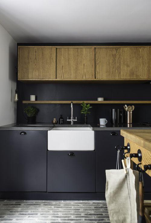 small shelf, mix of slate paint and wood, danish brick floor