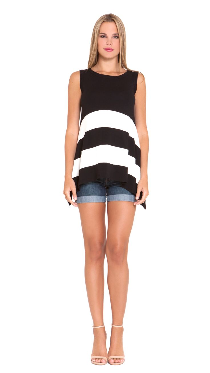 Asymetrical stripe maternity sleeveless top #apsobibi #olian #looseandcomfy