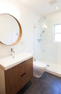 Mid century modern bathroom. Ikea cabinet and mirror